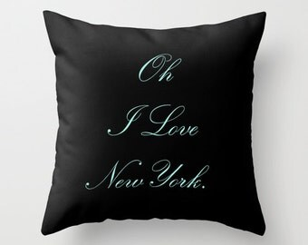 New York City Decor, Breakfast at Tiffany's Pillow Cover, Black Velvet Cushion Cover, New York Pillow, Housewarming Gifts, New York Gift