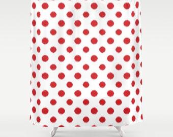 Red Ikat Polka Dot Shower Curtain, Girls Bathroom Decor, Standard or Extra Long Fabric Shower Curtain, Bath Curtain, Bathroom Decor, Red