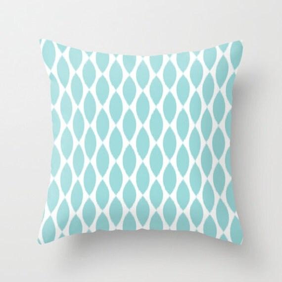 Aqua Throw Pillow Ikat Velvet Pillow Cover Girls Bedroom