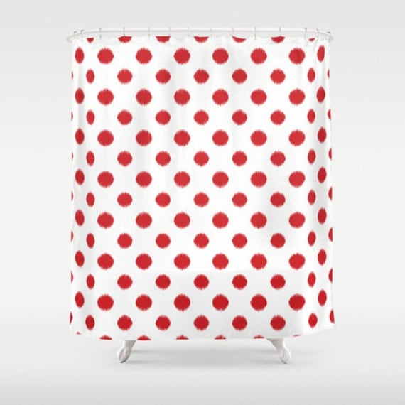 Shower Curtain Red Ikat Polka Dot Red And White