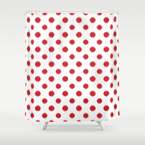 shower curtain red ikat polka dot red and white. Black Bedroom Furniture Sets. Home Design Ideas