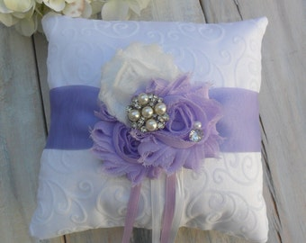 Ring Bearer Pillow, Lavendar Ring Bearer Pillow, Lavendar Ring Pillow, Shabby Chic Ring Bearer Pillow, Bridal Accessory, YOUR CHOICE COLOR