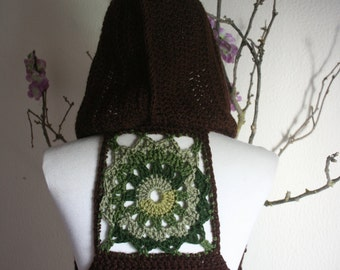 Brown with Mix Green  Mandala Pixie vest  with hood