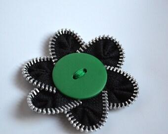 Zipper Flower Brooch with Button
