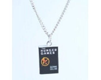 Hunger Games inspired tiny book novel necklace