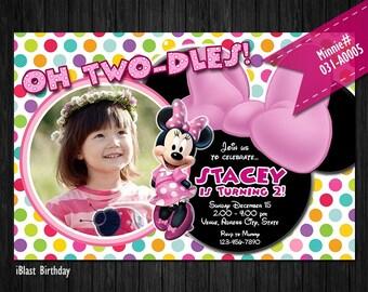 Minnie Birthday Invitation - Photo Invitation for Minnie Birthday - Digital Invite for Minnie party - choose preferred Background pattern