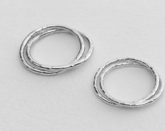 Etched Silver Wire Interlocked Rings