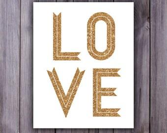 Bridal Shower gold glitter printable, Valentines printable, love print, gold glitter decor, gold glitter poster, love printable