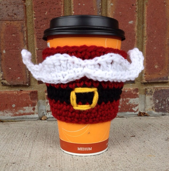 Santa Mustache with Belt Crocheted Coffee Cozy