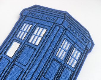 Police Box Patch  The Police Box Doctor Who Tardis Appliques Embroidery Iron on Patch  Iron on patch
