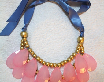Soft pink and slate blue gold tone stormy necklace  New Exclusive