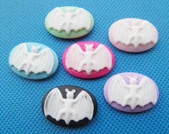 18mmx25mm Oval Flatback Resin Bat Cabochon/Cameo Charm/Finding,fit Base Setting Tray,Decoration Kit,DIY Accessory