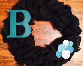 Burlap Intial Wreath
