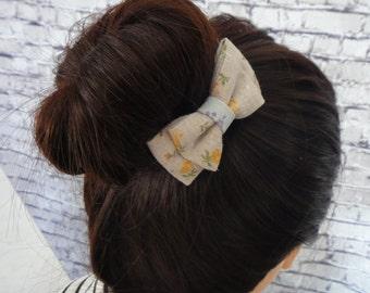 Linen Cotton Bow Hair Clip Barrette Small Floral Print Burlap Fabric Hair Accessory All Hair Types