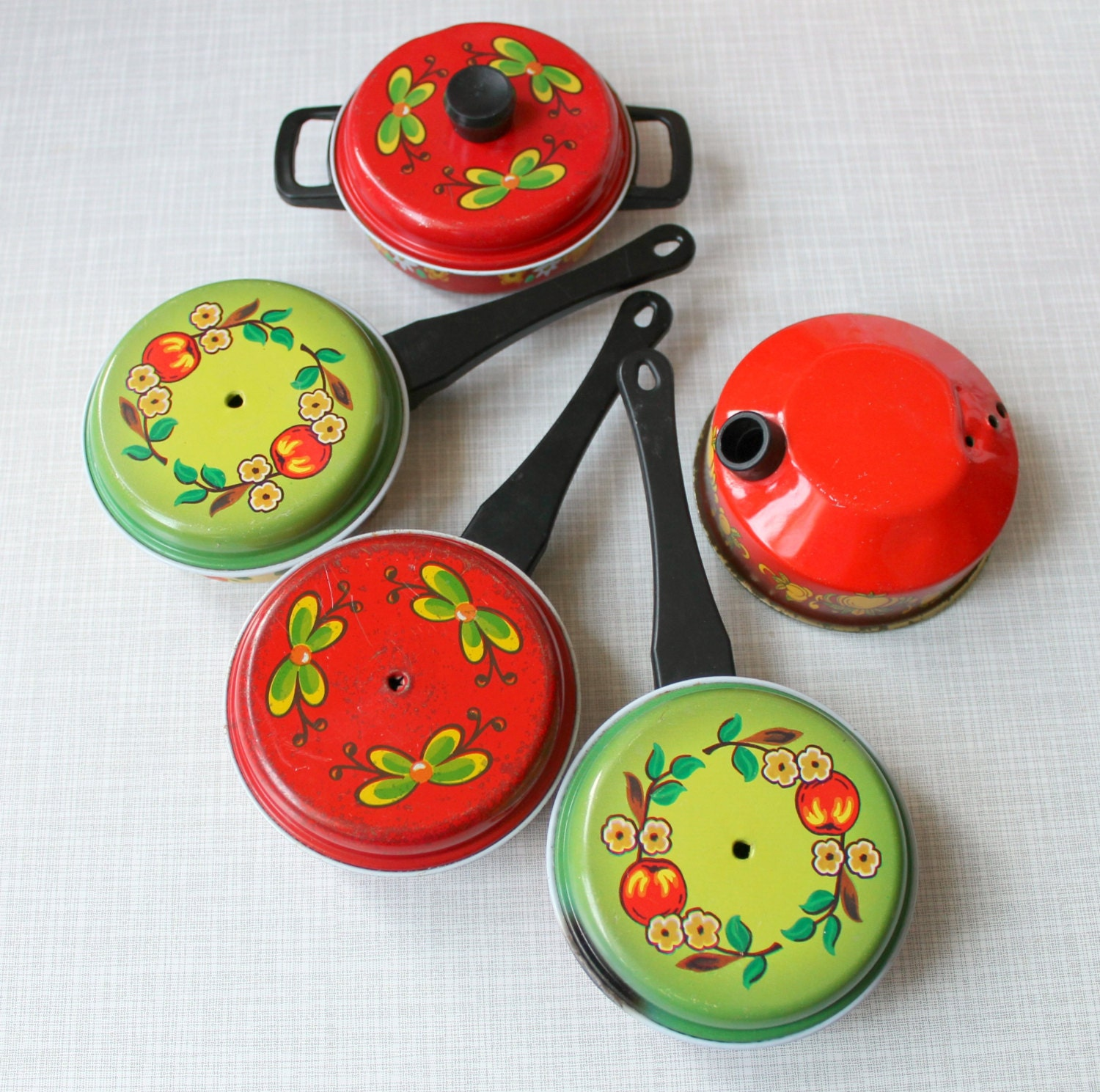 Toy Pots And Pans : Vintage children s tin toy pots and pans kettle retro