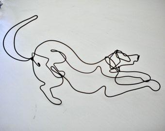 Downward Dog--3-D steel wire sculpture