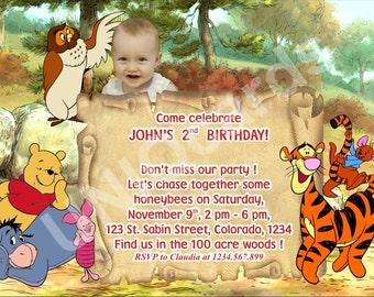 2-Winnie invitation, Winnie the Pooh birthday invitation, Pooh Bear invitation