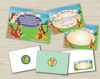 Winnie the Pooh birthday party set-Invitation-Thank you cards-Address label-Envelope seal-Custom invitation-Tigger-Piglet-Owl-Child photo