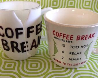 Two rare unusual vintage coffee break mugs
