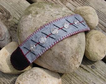 Gray Wool Felt Cuff Bracelet With Metal Disc Beads