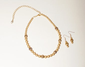 Gold Necklace Set, Gold Beaded Necklace Set,  Goldtone Necklace Set