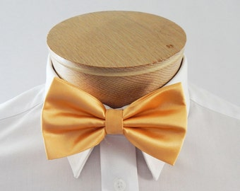 Mens Bow Tie Golden Yellow Solid Banded Pre Tied Bow Tie