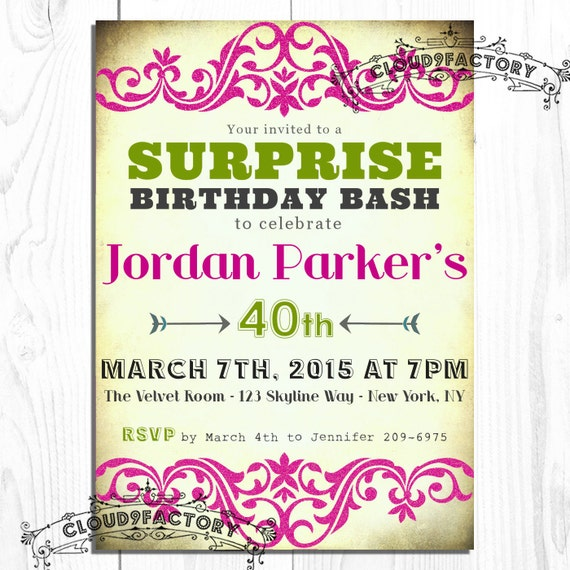 Items Similar To SURPRISE Birthday Party Invitation