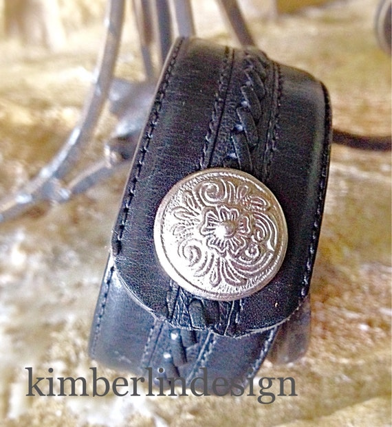 Repurposed belt leather cuff with decorative snapcool Repurposed leather belts