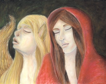 Little Red Riding Hood drawing - chalk pastels