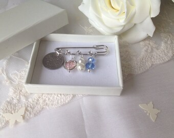 Bridal Lucky Sixpence Pin