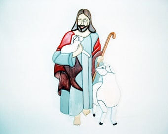 The Good Shepherd, Jesus, Wood Sculpture, Religious, Wall Art, Wall hanging, Intarsia Wood Art.