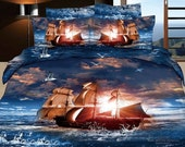 ocean sailing 4pcs unique bedding set blue bedclothes 3d printed cotton Duvet/Quilt/Comforter cover pillowcase bed sheet sets