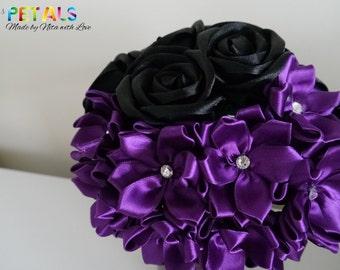 Mysterious Black and Purple Satin Ribbon Rose Wedding Bouquets, Handmade