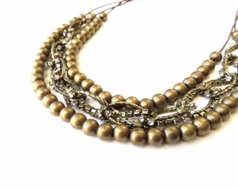 Brass Beaded Statement Necklace