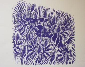 Hare in the Bluebells  - An original Linocut print
