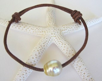South Sea Golden Pearl and Leather Bracelet - Tahitian Pearl on Natural Leather Cord with Sliding Knot - Handmade in USA