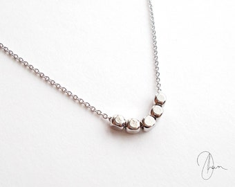 Tiny Silver Beaded Necklace - Thin Dainty Minimal Chain Necklace - Simple Everyday Delicate Barely There Jewellery - Short Silver Necklace