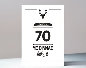 Och yer 70 - Scottish birthday greetings card