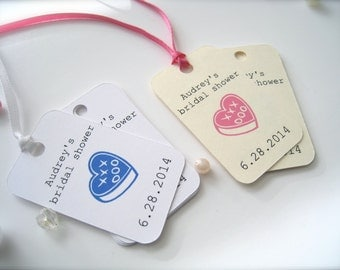 Small bridal shower favor tags, personalized tags, party favor tags - 30 count