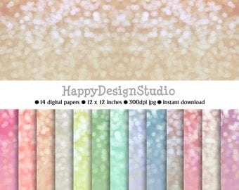 pastel glitter bokeh paper pack, instant download, commercial use, BG03