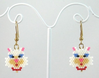 Beaded White Kitty Cat Earrings