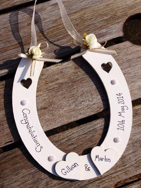 Personalised Wedding Gift Lucky Hanging Wedding Horseshoe