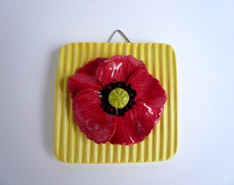 Small poppy tile-wall Decor-spring-Poppy Decoration