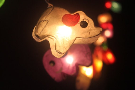 20 LED Battery Powered Elephants Paper Lantern String