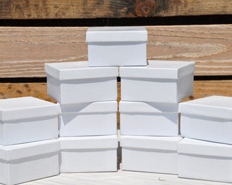 20 Pack White Gloss 3.5x3.5x2 Deep Jewelry Favor Boxes Square with Cotton Fill