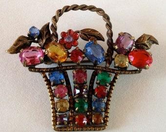 Art Deco 1930s Czech Brass Filigree Enamel & Rhinestone Flower Basket Brooch