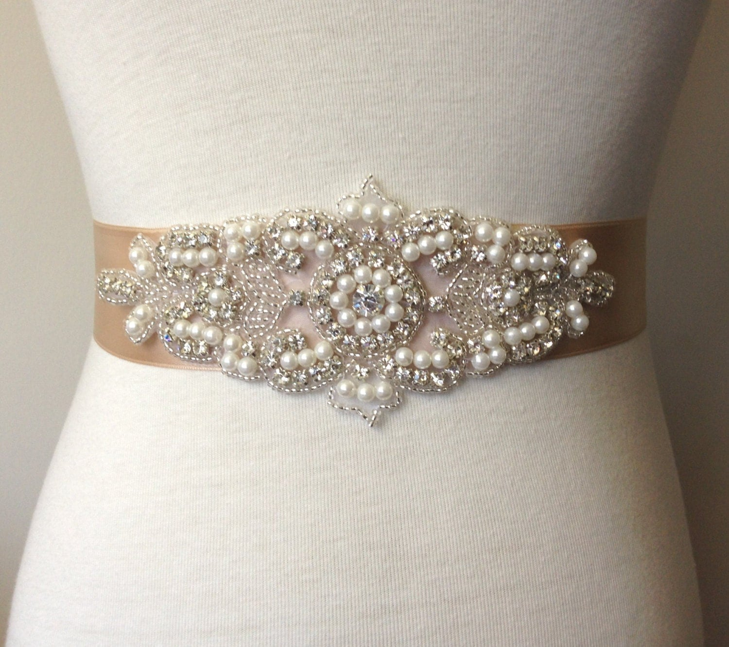 Champagne sash champagne belt rhinestone belt bridal for Belts for wedding dress