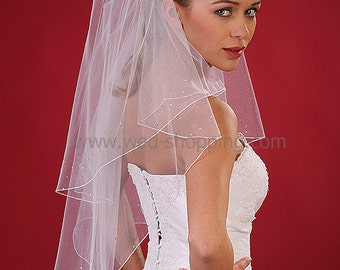 Veil Swarovski Crystals Veils Rhinestones Ivory White Pencil Edge - thin embroidery edge