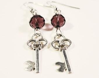 Key Charm Earrings, Plum Purple Crystal Bead Earrings, Beaded Dangle Earrings, Silver Skeleton Key Earrings, Women's Beadwork Jewelry