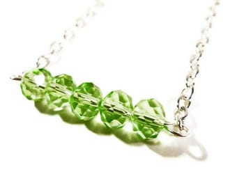 Beaded Bar Necklace, Peridot Green Crystal Bead Necklace on a Silver Metal Chain, August Birthstone Necklace, Women's Beadwork Jewelry